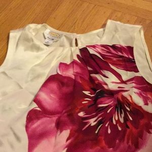 Petites talbots 12 silk sleeveless floral top